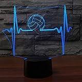 Qliyt 3D Led Elektrokardiogramm Nachtlicht Touch Switch Usb Volleyball Schreibtischlampe 7 Farbwechsel Dekor Schlaf Für Geschenke - Fernbedienung Und Touch