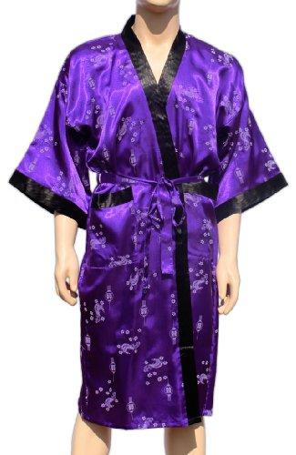 Lila Kimono mit asiatischen Muster Morgenmantel Bademantel Nachtmantel Satin Thai Robe Mantel Neu (Kimono Lila)