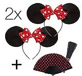 TK Gruppe Timo Klingler 2X Mini Maus Haarreif Mausohren Haar mit Ohren Maus Mini Minnie Kostüm Damen an Fasching Karneval (2X Haarreif Maus + 1x Fächer)