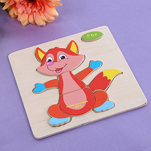 Rrimin Children's Wooden Cartoon Animal Stereo Jigsaw Puzzle Baby Toy