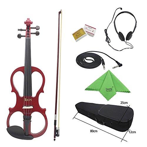 1 Violin 8 Bow (ammoon 4/4 Ahorn Holz Violine Elektrische Geige Instrument Streichinstrumente mit Schutzhülle Kopfhörer Ebony Fittings Kabel für Musikliebhaber Anfänger Rot)