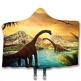 ahliwei Jurassic Dinosaur Series 3D Digitale Printed Cappuccio Coperta più Coperta Adulti 150 x 200cm 3