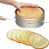 "Adjustable Mousse Mould Layer Cake Slicer Kit Stainless Steel Slicing Cake 9"" to"