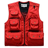 Unisex Outdoor Waistcoat Canvas Fishing Vest-Red L