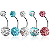 Best Belly Rings - Outee 5 Pcs Stainless Steel Balls Belly Bar Review