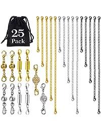 WEKON 25pcs Cadena Extensor de Collar, Cadena para Extensión de Joya, Extensor de Collar Pulsera para Pulsera Collar Cobre 2 3 4 5 6 Pulgadas 3 Forma Cilíndrico Bola Diamante 3 Colores Cerrar Fácil