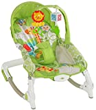 The Flyers Bay Fiddle Diddle Baby Bouncer Cum Music Rocker with 2 Toys, Zebra/Lion Green