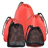 Wilxaw 5 Pcs Maille Sacs à Cordons Portable, Filet Sac de Rangement avec Cordon, Organisateur Stockage Pochette Pliable pour Voyage Plein Aair