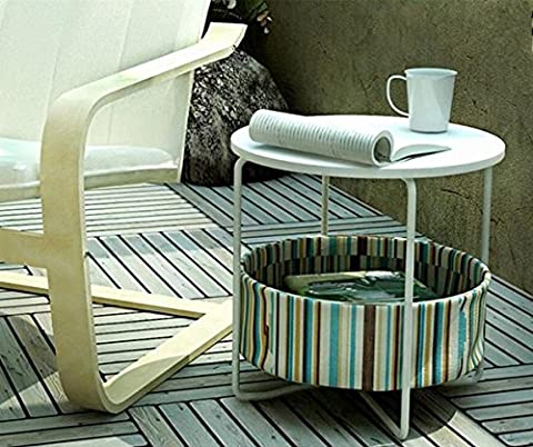 OSPI 2 Tier White Color Side Table/ End Table / Sofa Table/Outdoor furniture with Storage Canvas Basket - W42xL42xH42cm (Color Strip+White Top)
