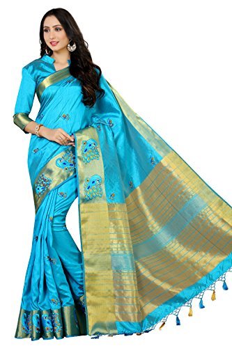 Mimosa Women's Tassar Silk Saree With Blouse Piece (4058-2085-Am-And,Turquoise,Free Size)