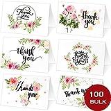 Tacobear 100 Cartes de Remerciement Cartes de Voeux Cartes Cadeau avec 100 Enveloppes Kraft et Autocollants Fleur Floral Merci Carte Remerciements pour Mariage Anniversaire Noël Fête de Naissance...