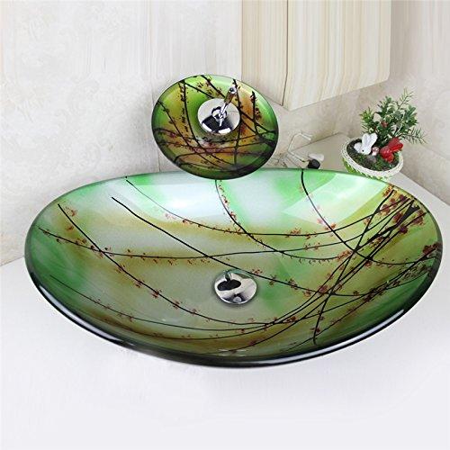 HomeLava Modern Waschbecken Set Glas Oval mit Wasserfall Wasserhahn,Ablaufgarnitur, Montag