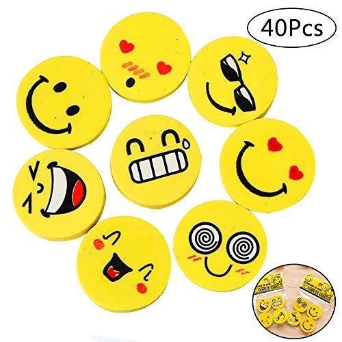 INTVN 40 Stück Emoji Smiley Radiergummis für Kinder, Spielzeug Gastgeschenk Geschenke für Geburtstag Party Festival neues Jahr Weihnachten, gelb (Neue Jahr Partys)