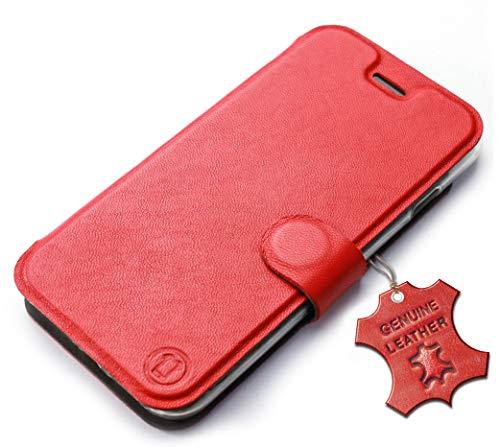 MOBIWEAR Echt Leder Leather Book Style Handy Motiv Tasche Flip Case Cover Hülle für Lenovo K6 Note - Red Leather