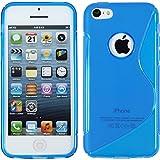 PhoneNatic Coque en Silicone pour Apple iPhone 5c - S-Style logo bleu - Cover Cubierta + films de protection