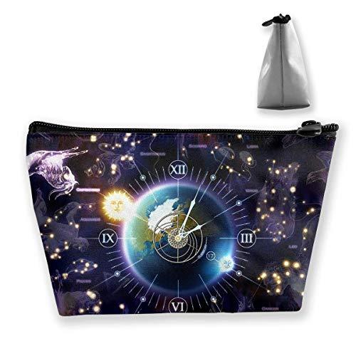 Kosmetiktasche Trapez Aufbewahrungstasche Zodiac Clock Space Tragbare Kosmetiktasche Damen Mobile Reisetasche -