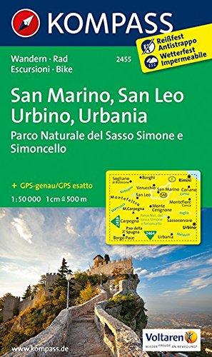 Preisvergleich Produktbild San Marino - San Leo - Urbino - Urbania - Parco Naturale del Sasso Simone e Simoncello: Wanderkarte mit Radtouren. GPS-genau. 1:50000 (KOMPASS-Wanderkarten, Band 2455)