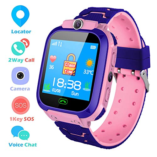 Bhdlovely Kids Smart Watch, Childrens Smartwatch GPS/LBS Tracker Touch Screen SOS Two Way Call Voice Chatting Birthday Gift Toy For Boys Girls(Pink-S9)