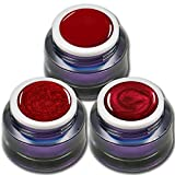RM Beautynails Premium UV Gel Set Red Stars je 5ml ein Farb Gel - Glitter Gel - Metallic Gel in Rot Nageldesign Nailart