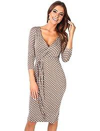 6487-MOC-10: Punkte Kreuzender V-Ausschnitt Jersey Kleid (Mokka/Weiß, Gr.38)