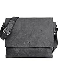 Ledertasche Vintage Leder Umhängetasche von URBAN FOREST Damen Herren 14 Zoll Laptoptasche Messenger Bag Aktentasche Arbeitstasche Notebooktasche DIN-A4 36x28x8cm (B x H x T)
