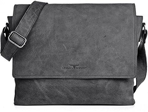 Ledertasche Vintage Leder Umhängetasche von URBAN FOREST Damen Herren 14 Zoll Laptoptasche Messenger Bag Aktentasche Arbeitstasche Notebooktasche DIN-A4 Schwarz Grau 36x28x8cm (B x H x T) (Messenger Schwarz Bag Tasche)