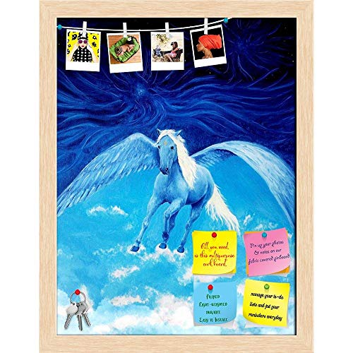 Artzfolio White Pegasus Horse High Up In The Skies Printed Bulletin Board Notice Pin Board | Natural Brown Frame 16 X 20.9Inch