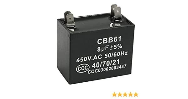 SODIAL(R) CBB61 8uF 450V AC 50 / 60Hz Klimaanlage Luefter Motor Lauf ...