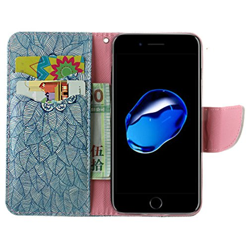 iPhone 7 Custodia, SsHhUu Lusso Stylish MagneticoStand Card Slot PU Leather Flip Protettivo Portafoglio Slim Cover Case + Stylus Pen per Apple iPhone 7 / iPhone 8 4.7 Fiore