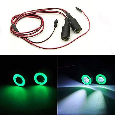 13mm 2Leds Engel Eyes & Demon Eyes LED Scheinwerfer Rücklicht für 1/10 RC Auto (Grün + Weiß)