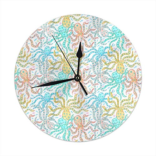 HomeMats 9.8 Inch Round Wall Clock,Blue Ringed Octopus Silent Non Ticking Decorative Clocks for Kitchen, Living Room, Bedroom, Office (Kit Cat Clock-pink)