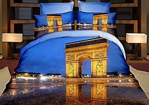 155x200 cm 3D Microfaser Bettwäsche Bettbezüge Bettwäschegarnituren 3tlg schöne Farben und Muster Paris Triumphbogen Arc de triomphe de l'Étoile Pop Art FSH298