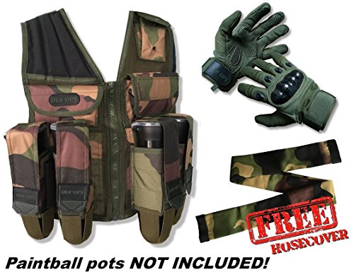 deniable-ops Paintball Assault Weste mit deniable-ops Speerspitze Handschuhe + Gratis Bezug Passende Fernbedienung Schlauch Paket – Assault Weste trägt Töpfe und Tank, Woodland Camo Vest with Medium Olive Gloves