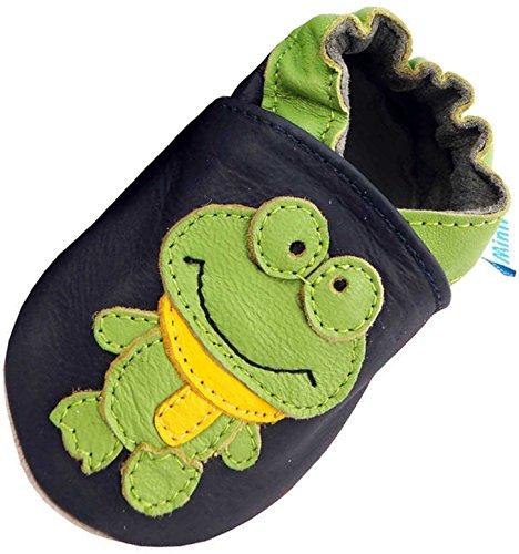 MiniFeet Premium Weich Leder Babyschuhe - Verschiedene Stile - Jungen und Mädchen BabySchuhe - Neugeborene bis 3-4 Jahre Frosch