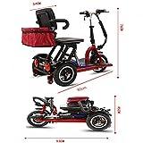 KASIQIWA Mini Triciclo eléctrico Plegable, Motor de 3...