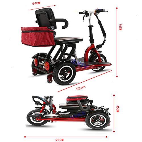 KASIQIWA Mini-Elektrodreirad, 3-Gang-Schaltung mit Doppelbremse Hocheffizienter Motor Freizeitroller mit starker Leistung für alte oder behinderte Personen,35km