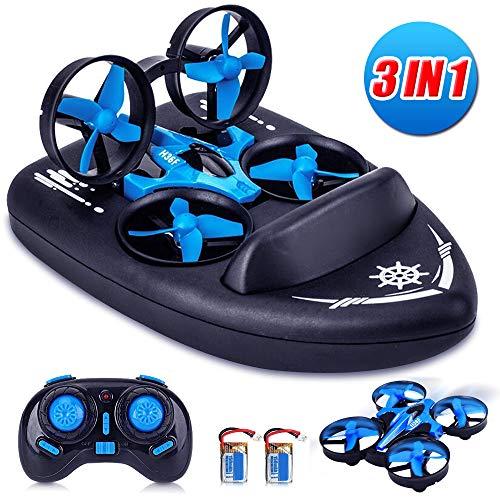 Yard Ferngesteuerte Boote / Drohne Kinder für Wasser und Himmel / RC Mini Quadcopter 3 in 1 Wasserdichtes Luftkissenfahrzeug Spielzeug(schließen Sie 2 Batterie EIN)