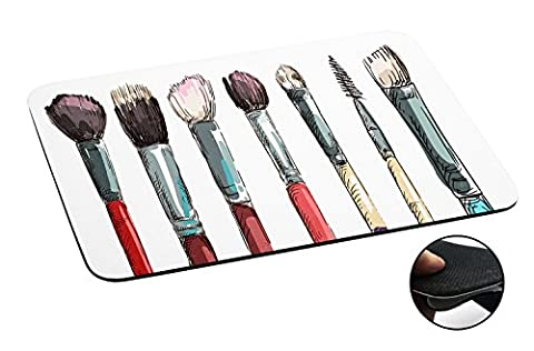 1009 - Cool Fun Cute Make Up Brushes Illustration Art Ladies Blusher Foundation Fashion Trend Kawaii Design Macbook PC Laptop Anti-slip Tapis de Souris Mousepad Mouse Mat Tpu Leather-Slim 3MM