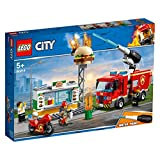 LEGO 60214 City Fire Burger Bar Rescue Truck Toy, Burger Bar Minifigures and Accessories, Fire Trucks for Kids