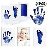 MCREE 3 PCS Baby Ink Pad für Baby Fußabdrücke Handabdruck und Fingerabdrücken Kit mit 3 extra große Pads und 6 Impressum Karten perfekt Keep Baby-Baby Dusche Geschenk (Blau)