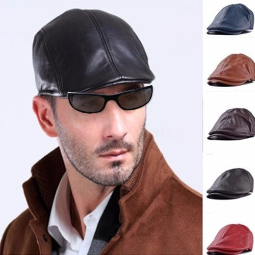 wangsoar Fashion Men Women Leather Ivy Cap Bonnet Newsboy Beret Cabbie Gatsby Flat Golf Hat Red (Cap Newsboy Red)