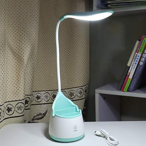 Kreative LED Tropfen Stifthalter Schreibtischlampe USB Lade Touch Smart Drei-Geschwindigkeits-Dimmen Auge Leselampe Nachttischlampe Blue Leaf Pen Lampe