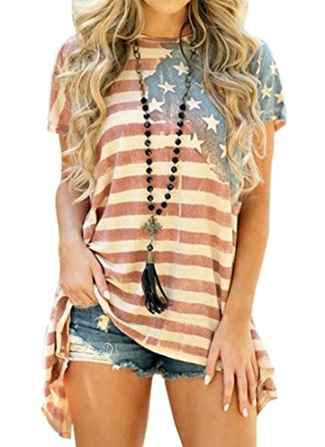 H&E Womens Plus Size American Flag Print Casual Top Patriotic Blouse T-Shirts