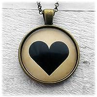 Black Heart Cuore Nero Ciondolo e Collana