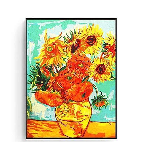 LAMAMAG Malen nach Zahlen Weltberühmtes Sonnenblumenölgemälde Durch Zahlen Auf Leinwand Die Café-Terrasse Auf Dem Platz Du Forum Arles An Nah Durch Vincent Van Gogh -
