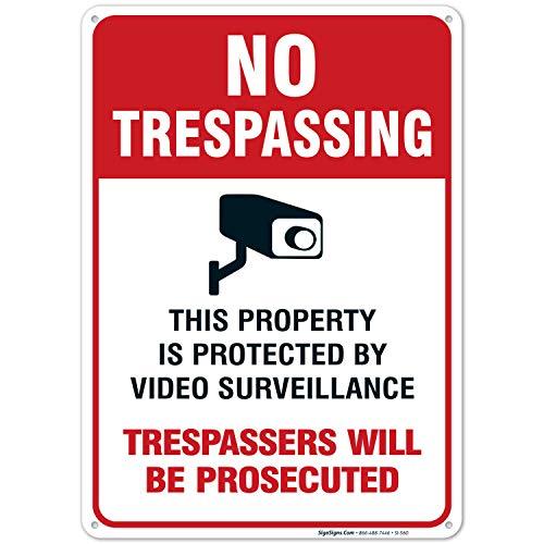 Video Surveillance Schild-No Trespassing Zuwiderhandlungen werden strafrechtlich Legend 10x 14hochwertiges Aluminium Adt Alarm
