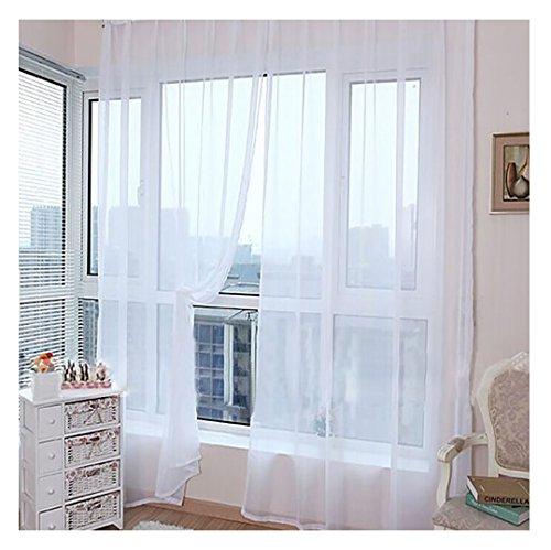 BakeLIN Voile Vorhänge 1 PC Reine Farbe Tüll Tür Fenster Drapieren Platte Schiere Schal Valances Ösenvorhang Gardinen (Weiß) (Weiß Vorhang Platten Schiere)