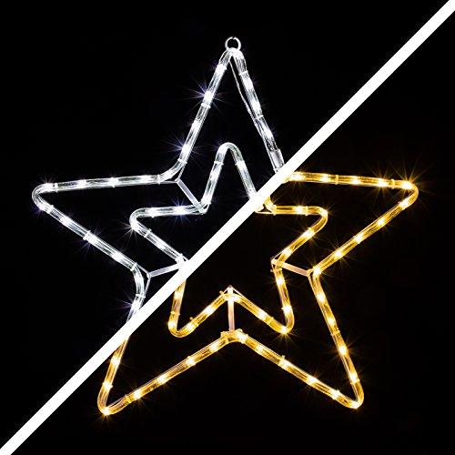LED Stern 55cm 72 LEDs leuchtet wahlweise warmweiß oder weiß 8 schaltbare Programme Weihnachtsbeleuchtung für Innen und Außen Weihnachtsdekoration Lichterschlauchfigur