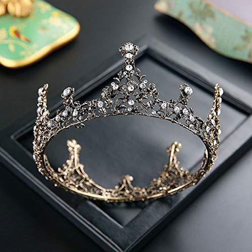 YQN-wedding Crown Court Prinzessin Xianmei Crown Hochzeit Bühnenauftritt Prinzessin Hochzeit Fotografie Schönheit Top Qualität Gold Crown Queen Göttin Hochzeit Haar, Retro