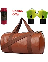 SKYSONS Gym Bag Combo Set Enclosed With Soft Leather Gym Bag For Men And Women For Fitness - Bag Size 49cm X 24cm... - B07DXNP144